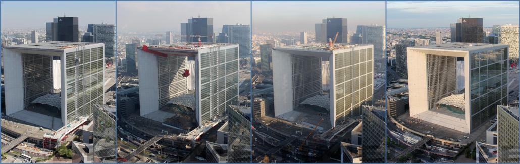 chantier time lapse de la Grande Arche de la Défense