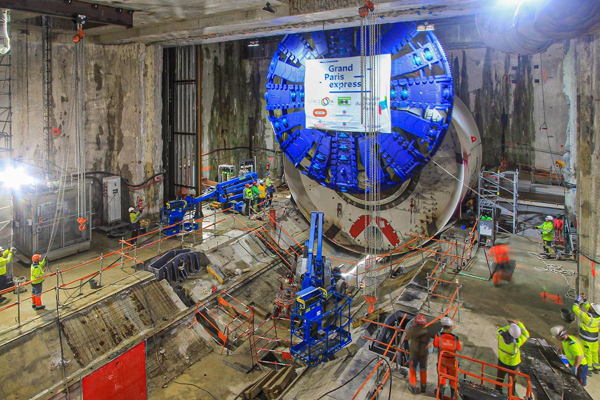 timelapse de de construction du tunnelier grand paris